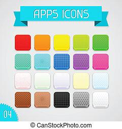 ensemble, couleur, apps, collection, 4., icons.