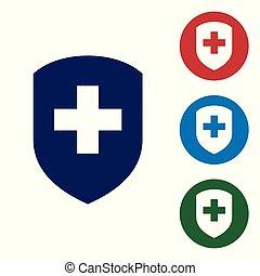 ensemble, couleur bouclier, croix, bleu, intimité, concept., isolé, arrière-plan., santé, sécurité, blanc, écusson, buttons., sécurité, illustration, protection, label., cercle, icône, monde médical, banner., vecteur, icon.
