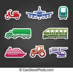 ensemble, couleur, collant, symboles, autocollants, transport