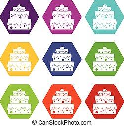 ensemble, couleur, grand, hexahedron, gâteau, icône