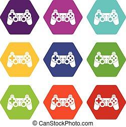 ensemble, couleur, hexahedron, contrôleur, jeu, icône