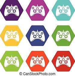 ensemble, couleur, hexahedron, contrôleur, jeu, vidéo, icône