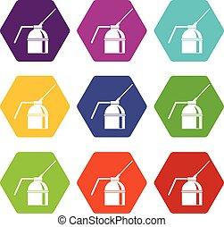 ensemble, couleur, hexahedron, peinture, vaporisez boîte, icône