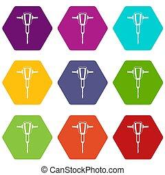 ensemble, couleur, hexahedron, pneumatique, plugger, martelez icône