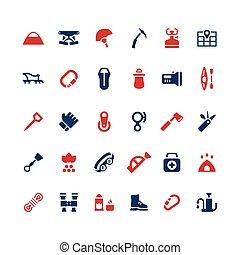 ensemble, couleur, icônes, de, camping, et, alpinisme
