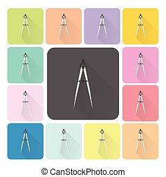 ensemble, couleur, illustration, vecteur, compas, icône