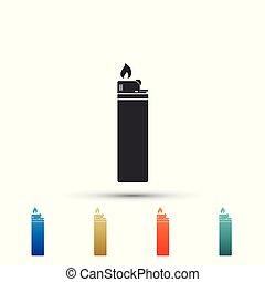 ensemble, couleur, isolé, icons., arrière-plan., vecteur, illustration, briquet, blanc, éléments, icône