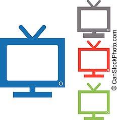 ensemble, couleur, isolé, tv, fond, blanc, icône