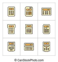 ensemble, couleur, ligne, icônes, de, calculatrice