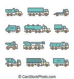 ensemble, couleur, ligne, icônes, de, camions