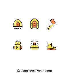 ensemble, couleur, ligne, icônes, de, camping
