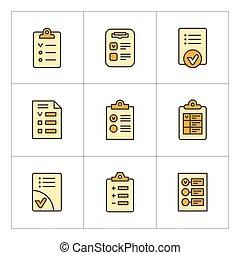 ensemble, couleur, ligne, icônes, de, liste contrôle