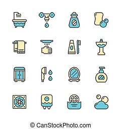ensemble, couleur, ligne, icônes, de, salle bains