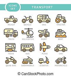 ensemble, couleur, ligne, icônes, de, transport