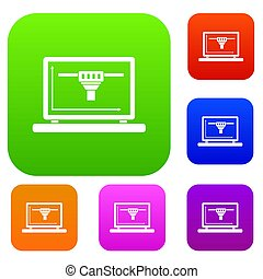 ensemble, couleur, ordinateur portable, collection, conception, 3d