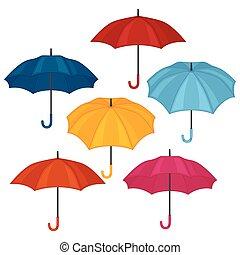 ensemble, couleur, résumé, fond, blanc, parapluies