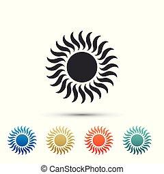 ensemble, couleur, soleil, isolé, icons., arrière-plan., vecteur, illustration, blanc, éléments, icône