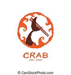 ensemble, couleur, texte, fish, conception, brosse, logo, espace, isolé, forme, queue, crabe, cercle orange, cadre, tenue, illustration, vague, fond, copie, blanc, icône, baguettes