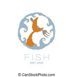 ensemble, couleur, texte, fish, conception, brosse, logo, espace, isolé, forme, queue, crabe, cercle orange, cadre, fourchette, tenue, illustration, vague, fond, copie, blanc, icône