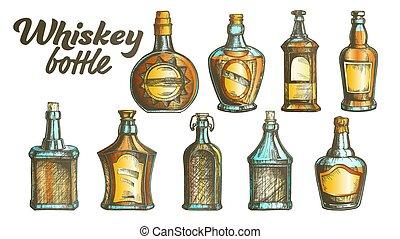 ensemble, couleur, vecteur, bouteille, whisky écossais
