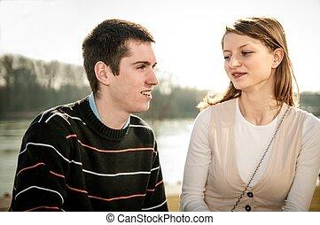 ensemble, couple, amour, jeune