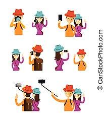 ensemble, couple, caractère, photos, action, prendre