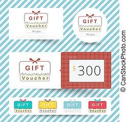 ensemble, coupon., illustration., cadeau, vecteur, bon, gabarit, carte