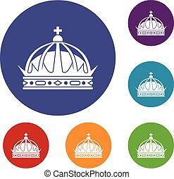 ensemble, couronne, icônes
