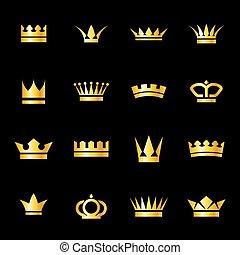 ensemble, couronnes, icônes