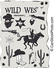 ensemble, cow-boy, ouest, éléments, conçu, sauvage