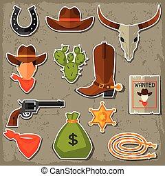 ensemble, cow-boy, ouest, objets, sauvage, autocollants