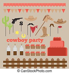 ensemble, cow-boy, printable, vendange, éléments, fête