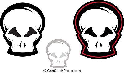 ensemble, crâne, icône