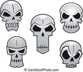 ensemble, crânes, dessin animé, émotions, danger