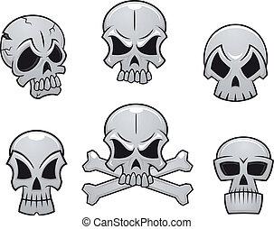 ensemble, crânes, dessin animé