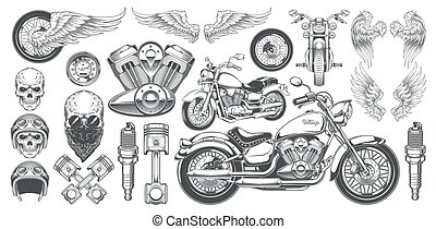 ensemble, crânes, icônes, vendange, illustrations, vecteur, divers, motocyclette, angles, ailes