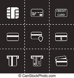 ensemble, crédit, vecteur, noir, carte, icône
