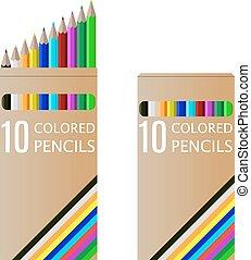 ensemble, crayons, boîte