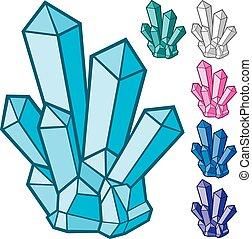 ensemble, cristaux