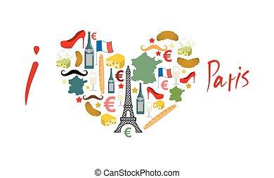 ensemble, croissant., national, signe, mode, amour, moule, ...
