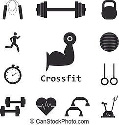 ensemble, crossfit, gymnase, icons., sport, vecteur, fitness...