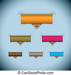 ensemble, cuir, étiquette papier, onglet, icône