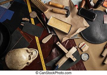 ensemble, cuir, papier, arrière-plan., métier, lieu travail, outils, shoemaker.