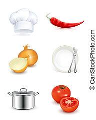 ensemble, cuisine, icône