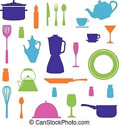 ensemble, cuisine, icônes