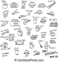 ensemble, cuisine, main, objets, doodles, dessiné