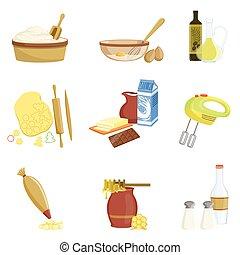 ensemble, cuisson, processus, articles, isolé, équipement, cuisine
