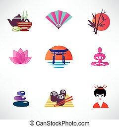 ensemble, culture japonaise, icônes