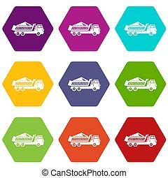 ensemble, décharge, piste, hexahedron, couleur, icône