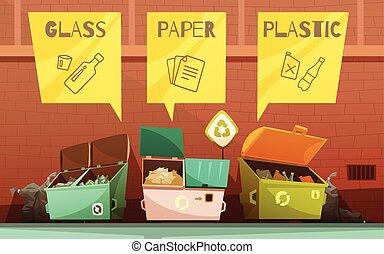 ensemble, déchets, icônes, tri, gaspillage, dessin animé